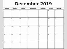 December 2019 Monthly Calendar Template