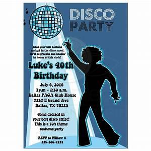 Disco ball 7039s theme any age birthday party invitation boy for 70 s wedding invitations
