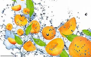 Download wallpaper apricot, orange, water, drops free ...