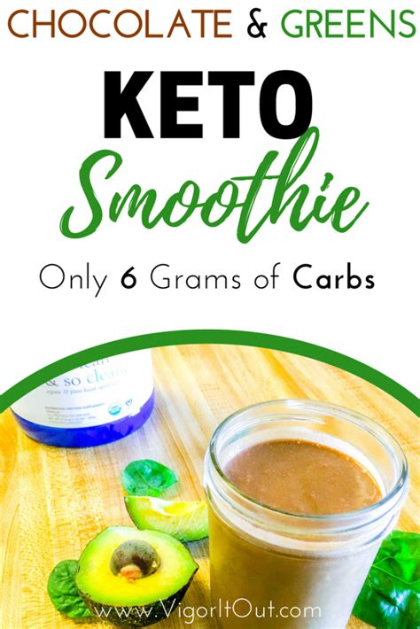 Avocado, berries, milk or liquid, and a sweetener. Chocolate Keto Smoothie with Avocado with only 6g carbs