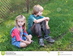 Little boy and sad girl stock photo. Image of blondie ...
