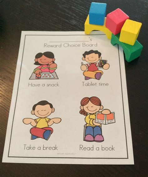reward choice board  images special education