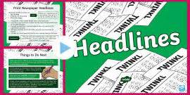 newspaper report writing dice activity ks
