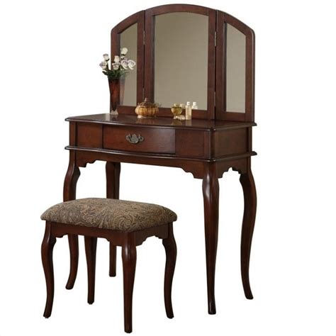 vanity with stool poundex bobkona jaden vanity set with stool in cherry f4066