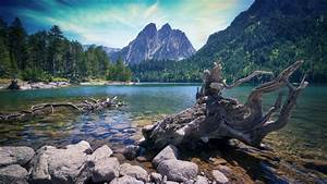 Lake, With, Clear, Water, And, Stones, In, Background, Of, Mountain, 4k, Hd, Nature, Wallpapers