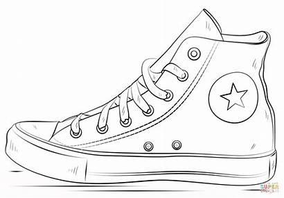 Coloring Converse Shoes Printable Pages Coloringhome Pdf