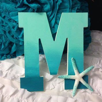 hand painted ombre wooden letter  sea star beach decor craft ideas pinterest