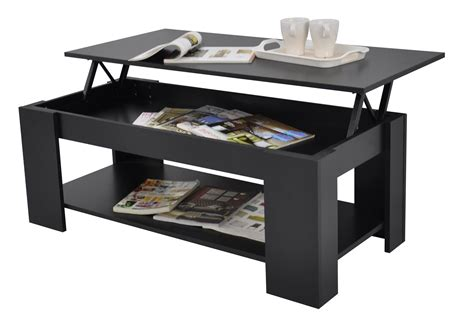 Stephanie Storage Large Solid Lift Up Coffee Table Black