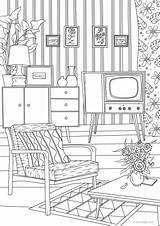 Living Retro Coloring Printable Pages Adult Favoreads Adults Colouring Drawing Club Interior Theater Rooms Sheets Things Perspective Pattern Books sketch template