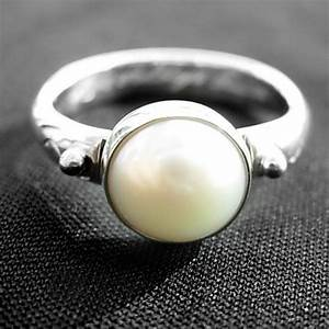 Pearl engagement ring lwsilver for Pearl engagement ring with wedding band