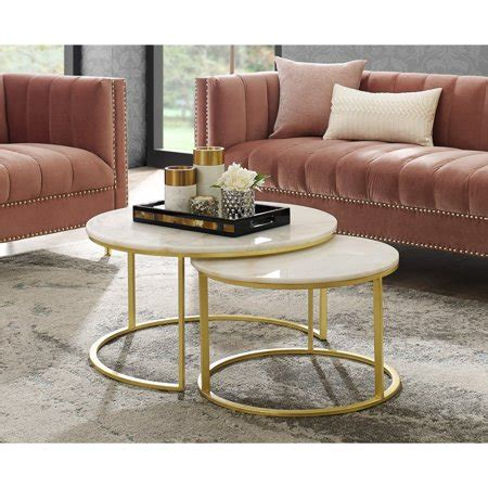 The combination is the epitome of approachable glamour, within a versatile footprint that's beautiful in both roomy and cozy spaces: Asbille Gold Nesting Coffee Table - Round Natural Marble ...