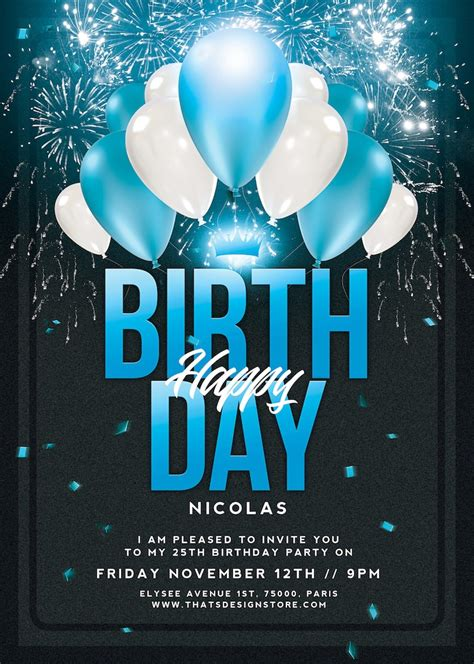 birthday party invitations flyer template anniversary