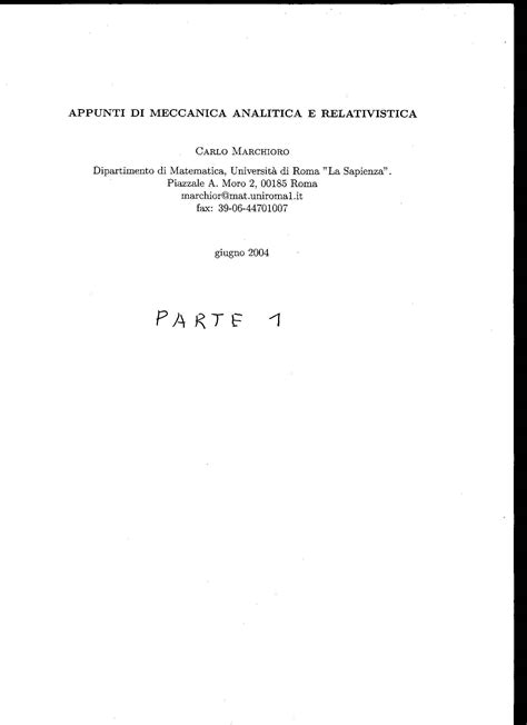 fisica teorica dispense meccanica analitica e relativistica marchioro lezioni