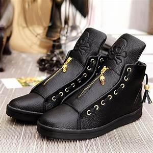 quality leather shoes 2016 winter high top skull gold