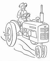 Coloring Tractor Farm Farmer Driving Vehicles Printable Honkingdonkey Happy Guardado Desde sketch template