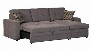 Charcoal black sectional sofa storage chaise and pull out for Black pull out sofa bed