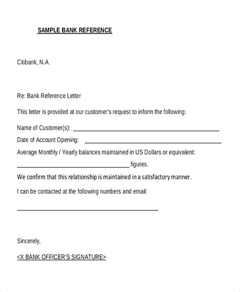 sample bank reference letter templates