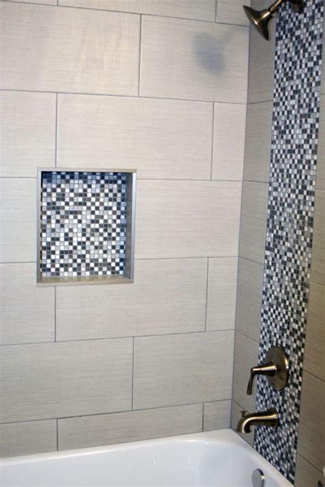 bathroom shower  gray  white square mosaic