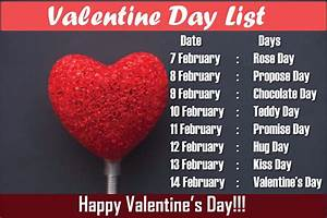 Valentine Week List 2019, Date Sheet, Days of Valentines ...