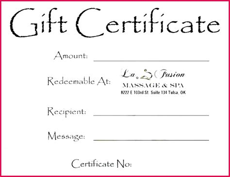 Pamper someone special with these free printable gift certificate templates if you are a professional massage therapist or you own your own business, you to make a massage gift card select any template from the selection above or from the selection of generic gift certificates. 7 Free Massage therapy Gift Certificate Templates 65538 | FabTemplatez