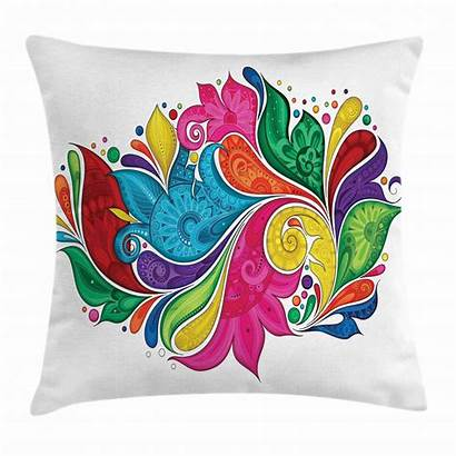 Pillow Paisley Throw Abstract Rainbow Multicolor Flower