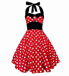 affordable plus size pin up dresses and rockabilly swimwear With robe à pois rouge