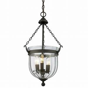 Warwick bronze three light pendant z lite bell urn