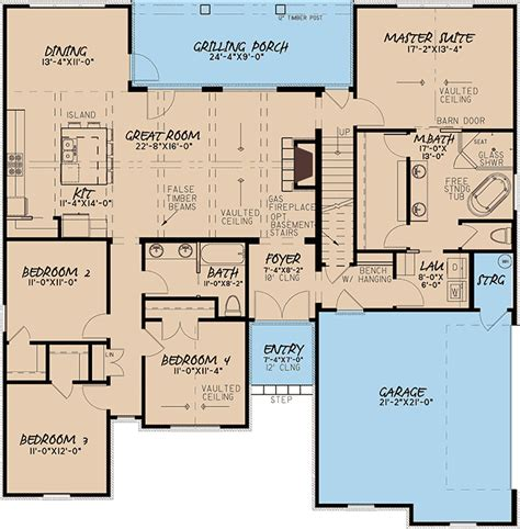 european style house plan  master suite  laundry access mk architectural