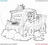 Snow Plough Clipart Driver Happy Waving Outlined Plow Illustration Royalty Vector Visekart Coloring Template sketch template