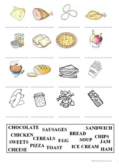 food matching worksheets food
