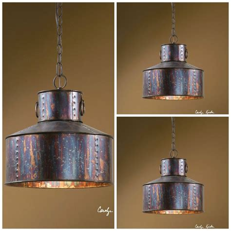"Three 15"" Oxidized Wash Metal Hanging Pendant Lights"