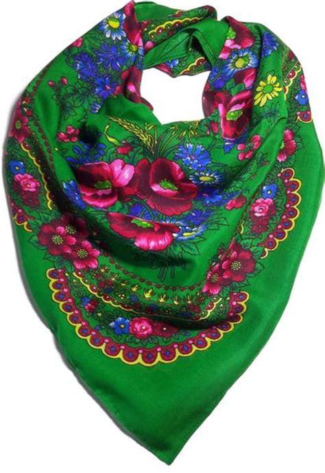 polish ukrainian folk cotton head scarf floral green