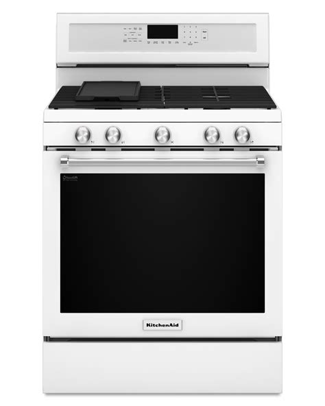 kitchen aid range kitchenaid kfgg500ewh 5 8 cu ft freestanding gas range