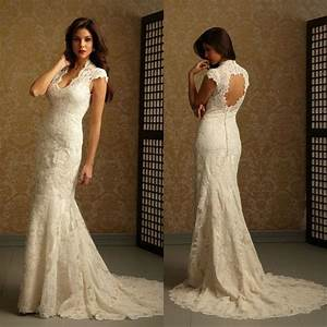 sexy elegant v neck cap sleeves backless mermaid trumpet With lace wedding dress patterns