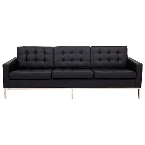 Florence Tufted Sofa In Black Leather Sofas
