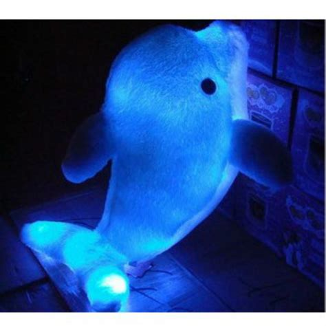 plush colorful led light blue dolphin shape throw pillow