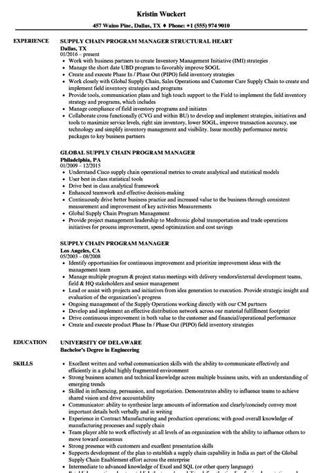 Resume For Program Manager by Supply Chain Program Manager Resume Sles Velvet