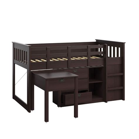 bunk loft with desk madison rich espresso single twin loft bed with desk and