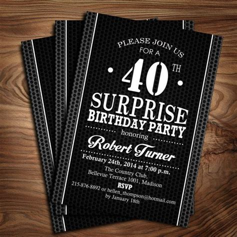 Surprise 40th Birthday Invitation / Black and White