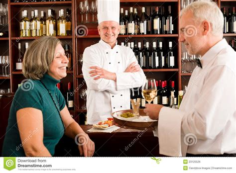 Restaurant Manager With Staff At Wine Bar Royalty Free