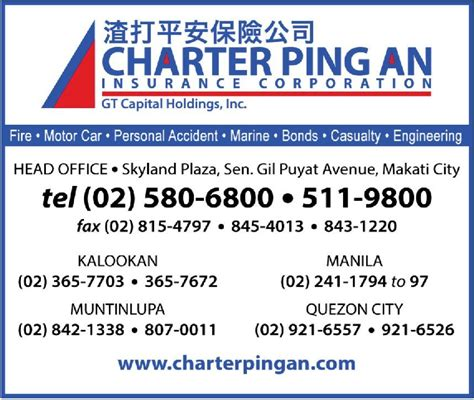 This product is not available at the moment. Charter Ping An Insurance in Makati City, Metro Manila - Yellow Pages PH