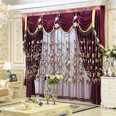arrival luxury embroidered purple curtains