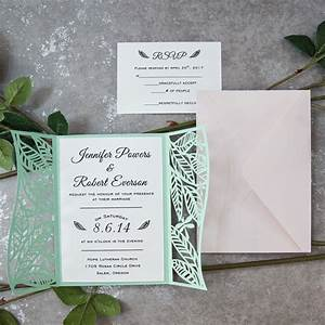 mint spring leaf inspired laser cut invitations ewws as With minted beach wedding invitations