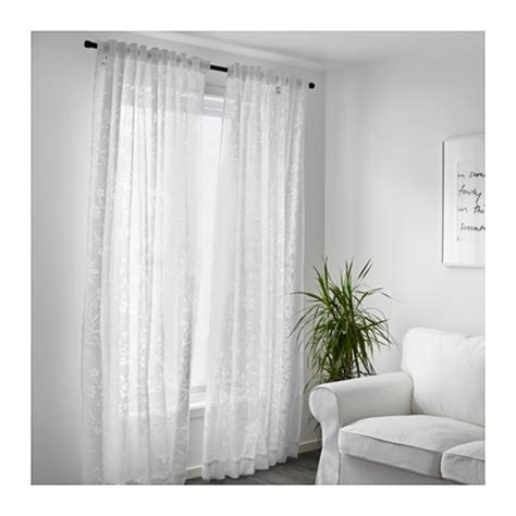borghild sheer curtains 1 pair white 145x300 cm ikea