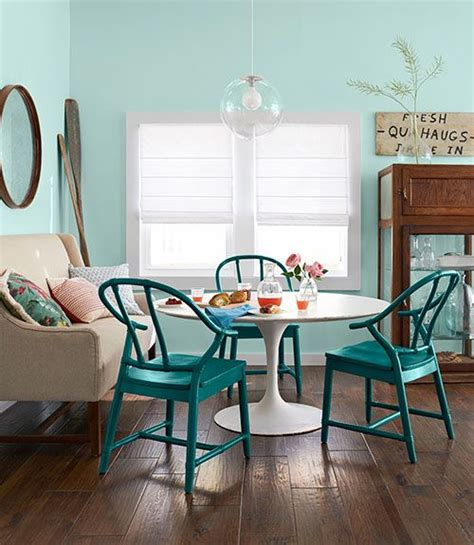 teal painted dining chair interiors  color