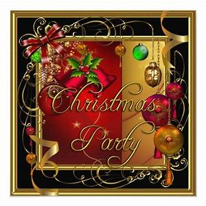 Christmas Holiday Party Gold Red Xmas Glitter Invitation