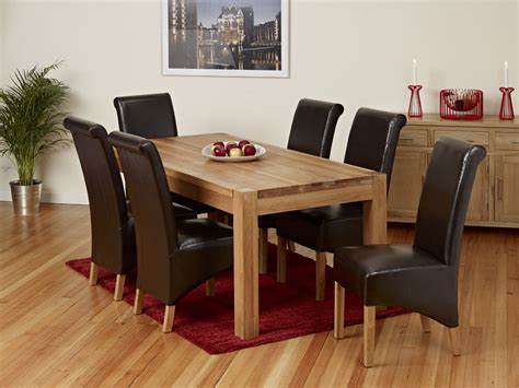 solid oak dining table set with 6 8 leather chairs 1home