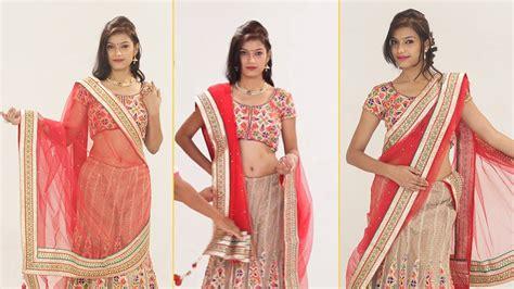 how to drape a lehenga dupatta how to wear lehenga saree to look slim step by step 5