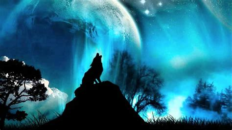 Dark Forest Background With Moon Night Sounds With Wolves And Fire Youtube