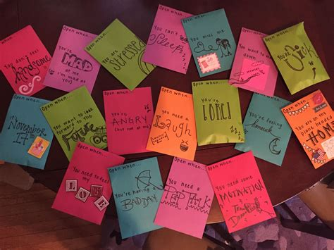 An open when letter is a great way to support someone who's far away. Open when cards for my soldier! I'd be more than happy to include pictures of th… | Birthday ...